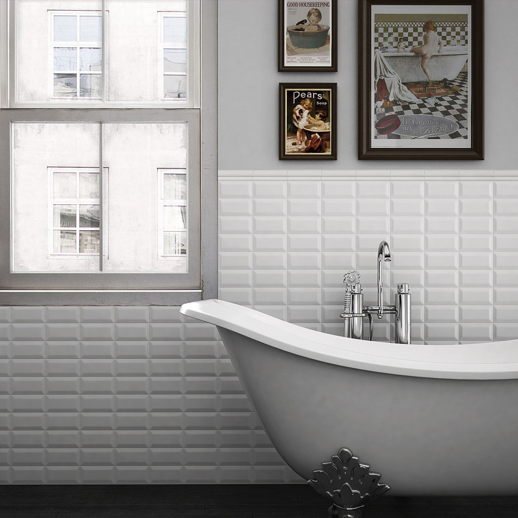 Vægflise biselado mugat blanco 10x20   fliser, klinker, mosaik ...