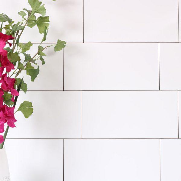 vægflise hvid blank 20x40